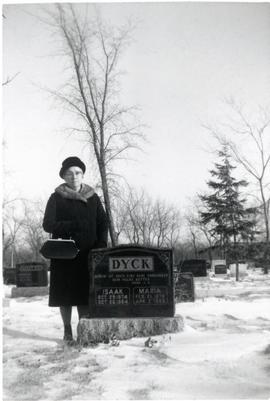 Mary Koop at her parents' grave