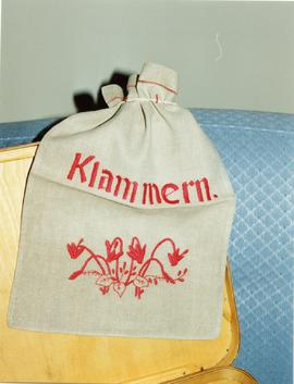 Linen clothes pin bag made and embroidered by Mary in the Crimea,