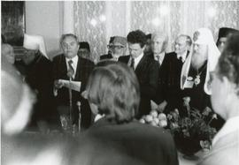 Chairman of the Soviet Council for Religious Affairs reading a statement