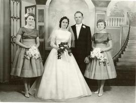 Edith and Alfred with bridesmaids.