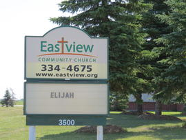 Eastview Community Church sign, exterior view towards the east