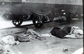 A common sight at railway stations during the famine