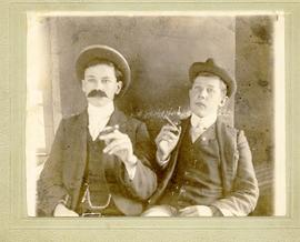Two young men dressed up
