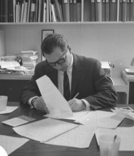 Dr. F.H.Epp, editor Canadian Mennonite in his office