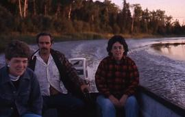 Hilda, Murray, and Ruth boating at Hole River