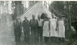 Cooks and foremen at the CO camp at Clear Lake