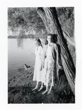 Heidi & Edith by a lake 1952