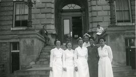 Helena Reimer and staff in front of Winnipeg General Hospital
