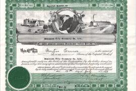 Dominion City Creamery one share certificate (front)