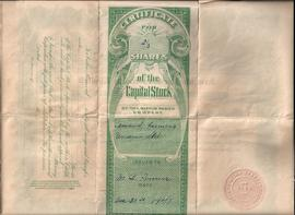 Arnaud Farmers Union share certificate (back)
