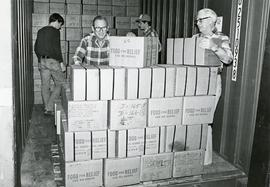 Cartons of canned meat (Material Aid)