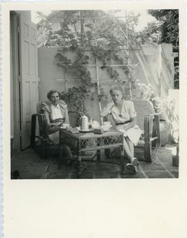 Helena Reimer having tea with [Wilhelmine Vischer] in Cambodia