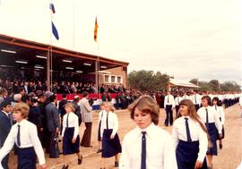 High School students marching in parade at Fernheim Colony fiftieth anniversary, July 4, 1980