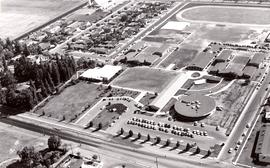 Aerial view of Pacific College campus, ca. 1967