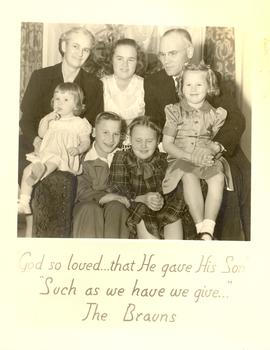 B. J. and Linda Braun with their children, Rose, Donald, Darlene, and Ruth.