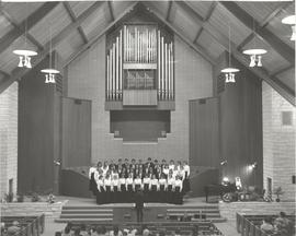Unidentified school choir performing in the Hillsboro Mennonite Brethren Church