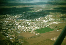 Aerial view of Reedley, California, looking northeast