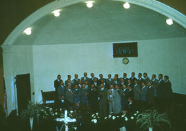 Men's chorus singing at Reedley Mennonite Brethren Church, ca. 1948-1952