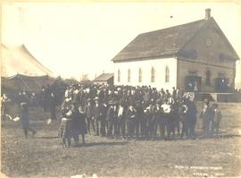 People outside of the South Fairview Mennonite Brethren Church, 1908