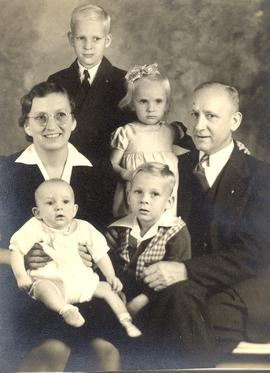 Mary and Abraham F. Kroeker with their children
