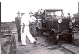 Ford truck adapted for use on narrow gauge railroad at Kilometer 145 in Paraguay