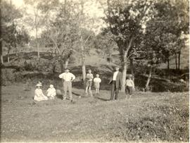 Unidentified Mennonite families on a picnic near Escondido, California