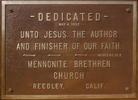 Dedicatory plaque, Reedley Mennonite Brethren Church, 1952