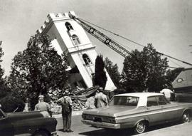 Demolition of old Reedley Mennonite Brethren Church building, 1965