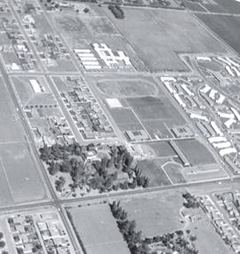 Aerial photograph of Pacific College campus and surrounding area, 1962