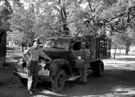 Five unidentified men with truck at Civilian Public Service Camp #31