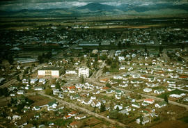 Aerial view of Reedley, California, looking east