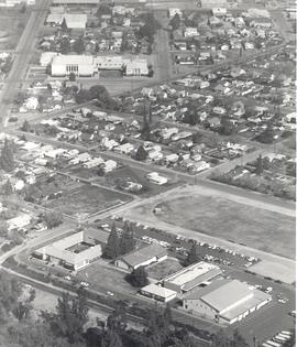 Aerial view of Reedley, California. Immanuel High School campus in foreground; Reedley Mennonite ...