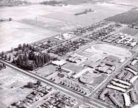 Aerial view of Pacific College campus, ca. 1968-1971