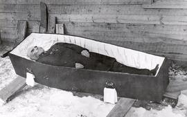 The body of Elder Heinrich Voth in its casket