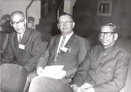 Kyoichi Kitano, G.B. Giesbrecht, and M.B. John at the 1960 General Conference of MB Churches conv...