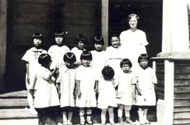 Edna Kliewer with students in Reedley Mennonite Brethren Church Japanese girls' Sunday Schoo...