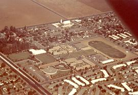 Aerial view of Pacific College campus, ca. 1975