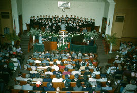 Choir singing during worship service at Reedley Mennonite Brethren Church, ca. 1948-1952
