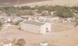 Aerial view of Corn Mennonite Brethren Church and surrounding structures.