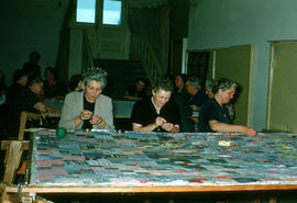 Women quilting in basement of Reedley Mennonite Brethren Church