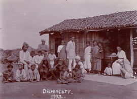 Katharina Schellenberg and patients at dispensary in Shamshabad, India