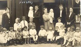 Nursery workers and children, South Side Mennonite Brethren Mission, Minneapolis