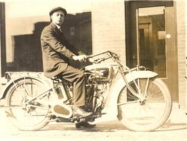 Henry Abrams on an Excelsior Autocycle