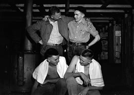 Four unidentified CPS men in barracks at Civilian Public Service Camp #31