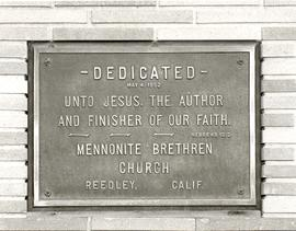 Dedication plaque on Reedley Mennonite Brethren Church sanctuary