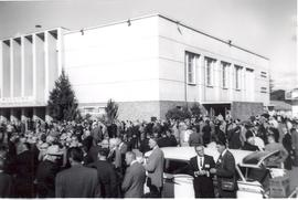 Delegates outside of Reedley Mennonite Brethren Church during 1960 meeting of the General Confere...