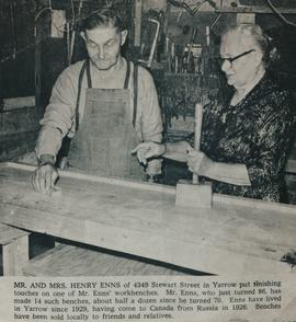 Henry and Margaretha Enns working in their workshop
