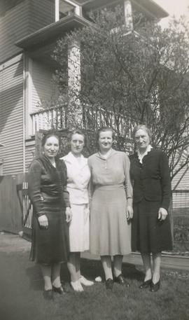 Four girls in the front entry