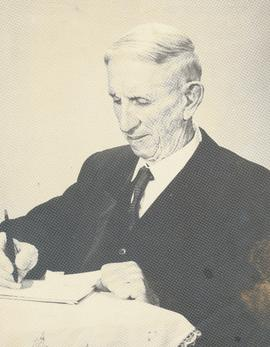 B.B. Janz at work on his memoirs
