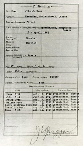 John J. Dyck Immigration Document